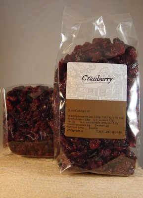 Cranberries gedroogd 250 gr.