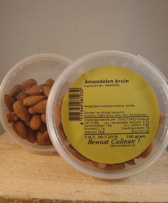 Amandelen bruin 100 gr. (rauw)