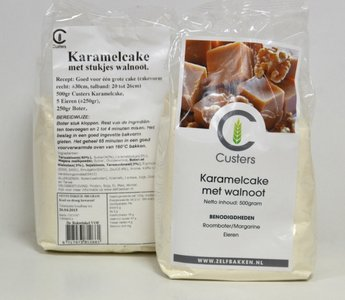 Karamel cakemix met st walnoot 500 gr.